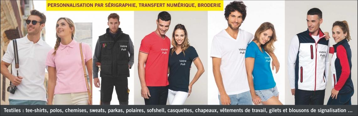 tee-shirts, caquettes, bonnets  - sérigraphie - broderie - transfert numérique